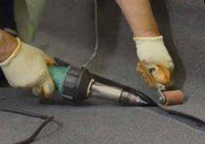 Hot air welding the cap sheet